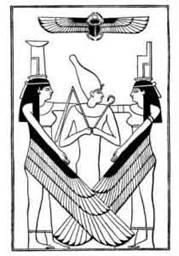 Osiris standing between Isis and Nephthys (public domain image)